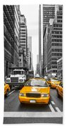 Yellow Taxis In New York City - Usa Bath Towel