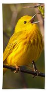 Yellow Warbler Singing Bath Towel