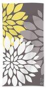 Yellow White Grey Peony Flowers Bath Towel