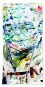 Yoda Watercolor Portrait.1 Hand Towel