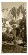Yosemite Falls Sepia Bath Towel
