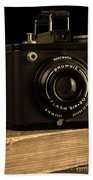 You Push The Button We Do The Rest Kodak Brownie Vintage Camera Hand Towel by Edward Fielding