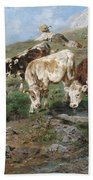Young Cattle In Tyrol Bath Towel