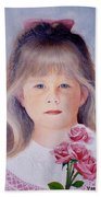 Young Girl With Roses Bath Towel