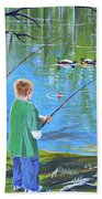 Young Lads Fishing Bath Towel