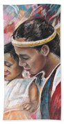 Young Polynesian Mama With Child Hand Towel