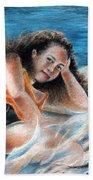 Young Tahitian Mermaid Bath Towel