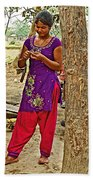 Young Tharu Village Woman In Traditional Nepali Clothing-nepal  Bath Towel