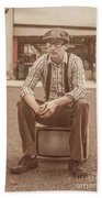 Young Vintage Man Seated On Old Tv Bath Towel