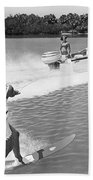 Young Woman Slalom Water Skis Bath Towel