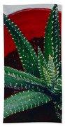 Zebra Cactus In Red Glass Bath Towel