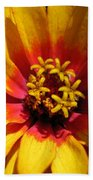 Zinnia Named Swizzle Scarlet And Yellow Bath Towel