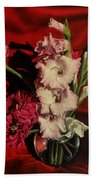 Zinnias And Gladiolas Bath Towel