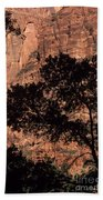 Zion National Park Canyon Walls With Silhouetted Trees In Front  Bath Towel