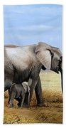 Elephant And Her Child Bath Towel