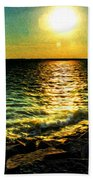 0001 Windy Waves Sunset Rays Bath Towel