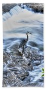 0005 Blue Heron At Glen Falls Williamsville Ny Bath Towel