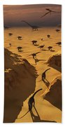 A Mixed Herd Of Dinosaurs Migrate Bath Towel