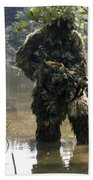 A Sniper Dressed In A Ghillie Suit Bath Towel
