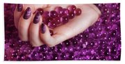 Abstract Woman Hand With Purple Nail Polish Bath Towel