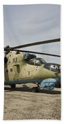 An Mi-35 Attack Helicopter At Kunduz Bath Towel