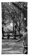 Bubble Boy Of Central Park In Black And White Bath Towel