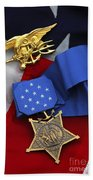 Close-up Of The Medal Of Honor Award Bath Towel