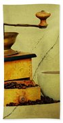 Coffee Mill And Beans In Grunge Style Bath Towel