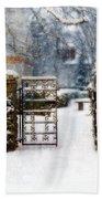 Decorative Iron Gate In Winter Bath Towel