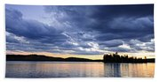 Dramatic Sunset At Lake Bath Towel