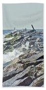 Fishing The Jetty - Island Beach State Park   Nj Bath Towel