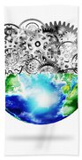 Globe With Cogs And Gears Bath Towel