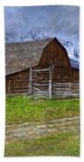 Grand Teton Iconic Mormon Barn Fence Spring Storm Clouds Bath Towel