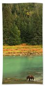 Grizzly Bear Fishing In Chilkoot River Bath Towel