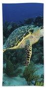 Hawksbill Turtle On Caribbean Reef Bath Towel