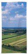 High Angle View Of Fields, Stradbally Bath Towel