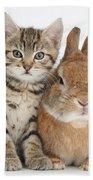 Kitten And Netherland Dwarf-cross Rabbit Bath Towel