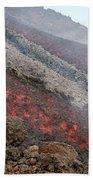 Lava Flow During Eruption Of Mount Etna Bath Towel