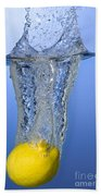 Lemon Dropped In Water Bath Towel