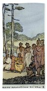 Missionary And Native Americans Bath Towel
