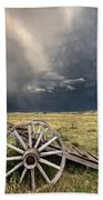 Old Prairie Wheel Cart Saskatchewan Bath Towel