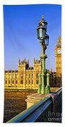 Palace Of Westminster From Bridge Bath Towel