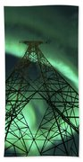 Powerlines And Aurora Borealis Bath Towel
