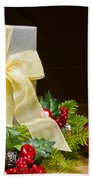 Present Decorated With Christmas Decoration Bath Towel