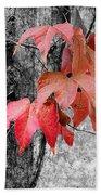 Red Leaves Bath Towel