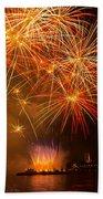 River Thames Fireworks Bath Towel