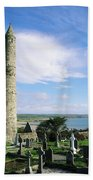 Round Tower, Ardmore, Co Waterford Bath Towel