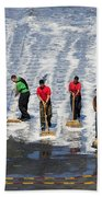 Sailors Perform A Flight Deck Wash Bath Towel