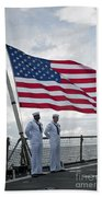 Sailors Stand At Parade Rest Bath Towel
