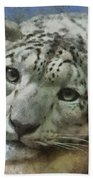 Snow Leopard Painterly Bath Towel
